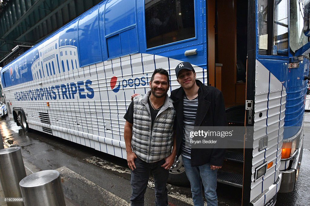 Johnny Damon and Pete Davidson join Pepsi to celebrate Yankees opening day, helping fans earn their pinstripes on April 4, 2016 in New York City.