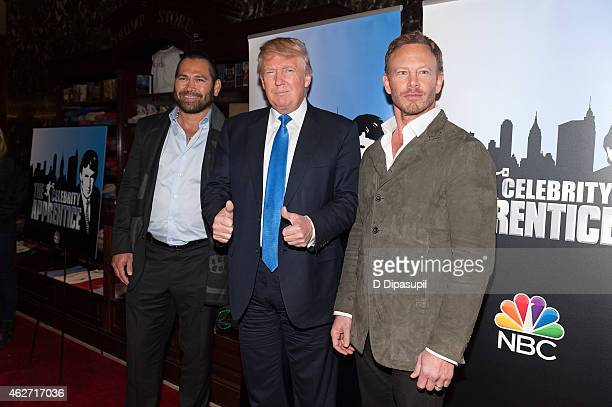 Johnny Damon Donald Trump and Ian Ziering attend the 'Celebrity Apprentice' Red Carpet Event at Trump Tower on February 3 2015 in New York City