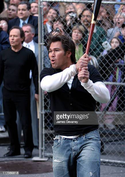 """Johnny Damon during Billy Crystal, Joe Torre and Johnny Damon Visit the """"Late Show with David Letterman"""" - April 10, 2006 at Ed Sullivan Theatre in..."""