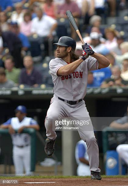 Johnny Damon of the Boston Red Sox bats during the game against the Kansas City Royals at Kauffman Stadium on June 6 2004 in Kansas City Missouri The...