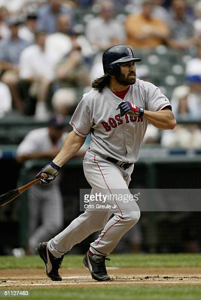 Johnny Damon of the Boston Red Sox bats during the game against the Seattle Mariners on July 20 2004 at Safeco Field in Seattle Washington The Red...