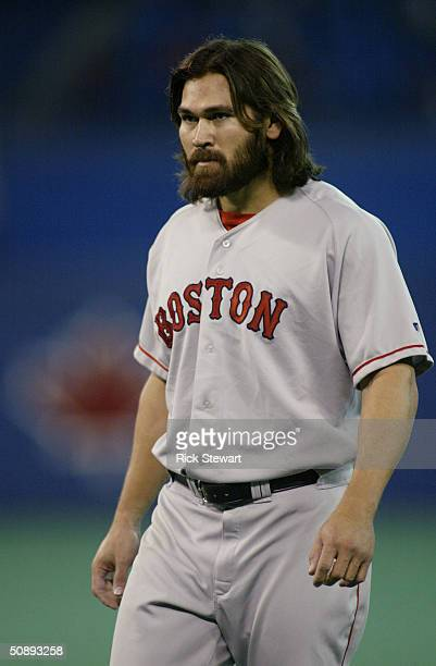Johnny Damon of the Boston Red Sox looks on during the game against the Toronto Blue Jays on May 15 2004 at Skydome in Toronto Ontario Canada The Red...