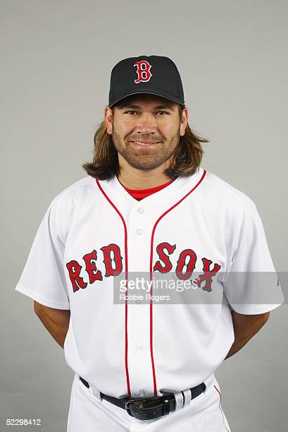 Johnny Damon of the Boston Red Sox poses for a portrait during photo day at City of Palms Park on February 26 2005 in Ft Myers Florida