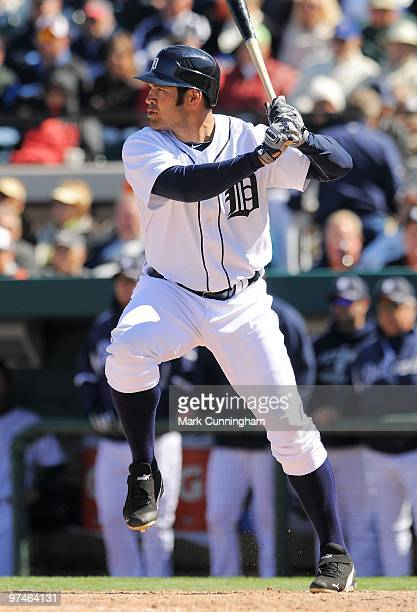 Johnny Damon of the Detroit Tigers bats against the Toronto Blue Jays during a spring training game at Joker Marchant Stadium on March 4 2010 in...