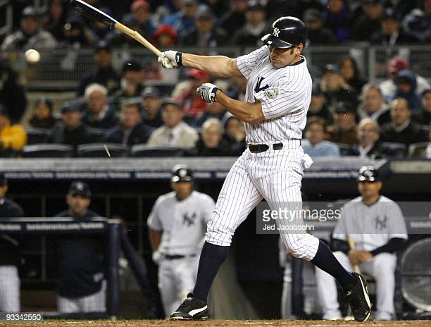 Johnny Damon of the New York Yankees bats against the Philadelphia Phillies in Game One of the 2009 MLB World Series at Yankee Stadium on October 28...