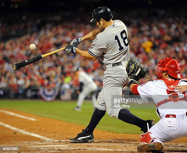 Johnny Damon of the New York Yankees hits a RBI single in the top of the fifth inning of Game Four of the 2009 MLB World Series at Citizens Bank Park...