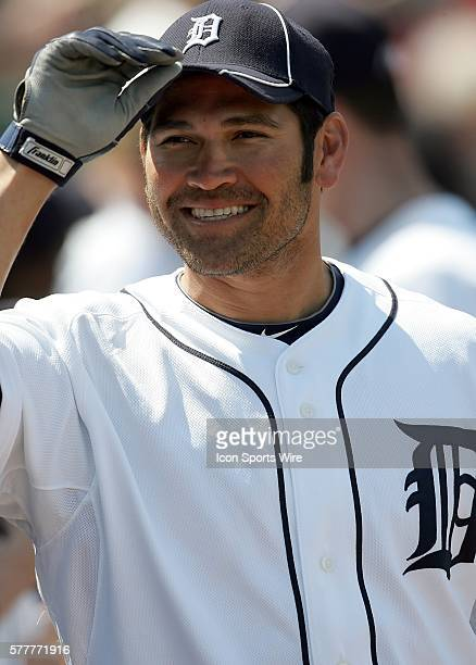 Johnny Damon of the Tigers smiles for the fans as the Detroit Tigers face the visiting Baltimore Orioles in Grapefruit League action during Spring...