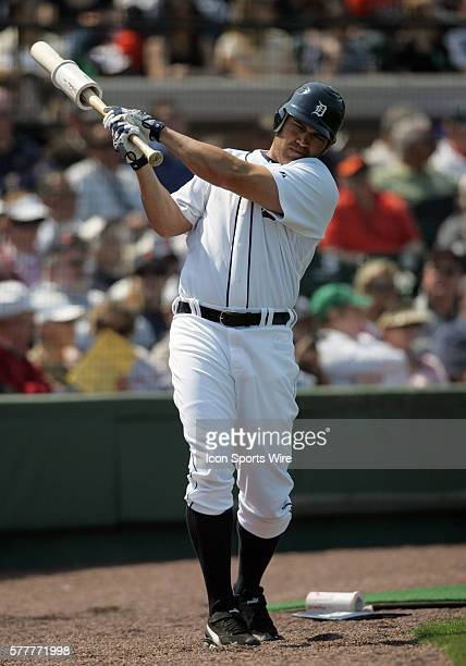 Johnny Damon of the Tigers stretches in the on deck circle as the Detroit Tigers face the visiting Baltimore Orioles in Grapefruit League action...