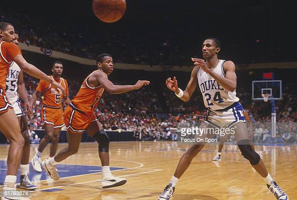 Johnny Dawkins of Duke University is passed the ball during a game in the 1980s