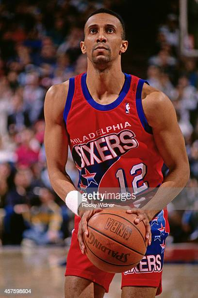 Johnny Dawkins of the Philadelphia 76ers shoots against the Sacramento Kings on February 16 1994 at Arco Arena in Sacramento California NOTE TO USER...