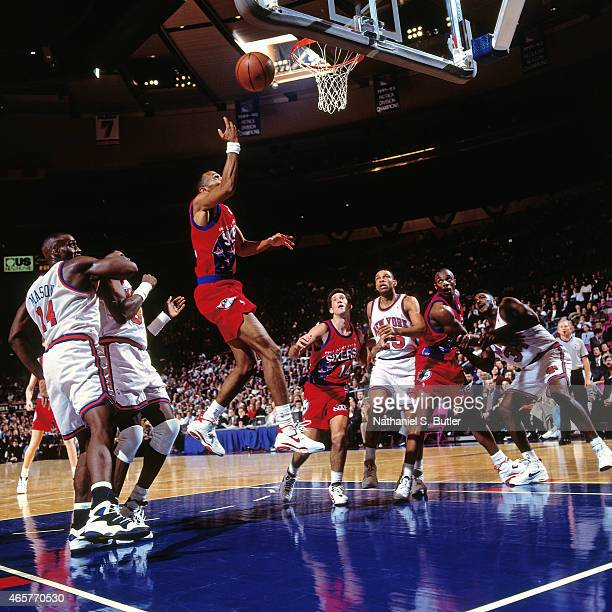 Johnny Dawkins of the Philadelphia 76ers shoots on November 9 1993 at Madison Square Garden in New York City NOTE TO USER User expressly acknowledges...