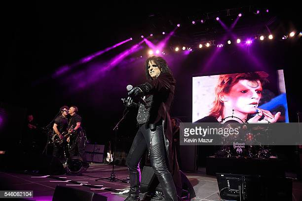 Johnny Depp and Alice Cooper of Hollywood Vampires perform at Ford Ampitheater at Coney Island Boardwalk on July 10 2016 in Brooklyn New York