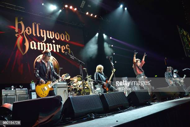 Johnny Depp and Alice Cooper of Hollywood Vampires performs live on stage at Wembley Arena on June 20 2018 in London England