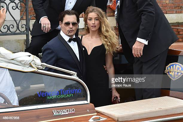 Johnny Depp and Amber Heard are seen leaving Cipirani Hotel during the 72nd Venice Film Festival on September 4, 2015 in Venice, Italy.