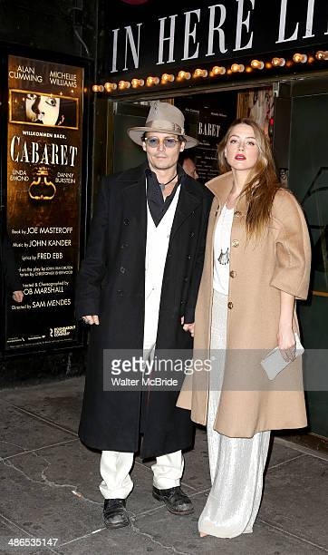 Johnny Depp and Amber Heard attend the Broadway Opening Night of 'Cabaret' at Studio 54 on April 24 2014 in New York City
