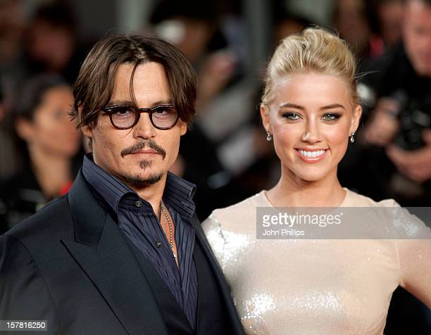 Johnny Depp And Amber Heard Attend The European Premiere Of 'The Rum Diary' At The Odeon Kensington, London.