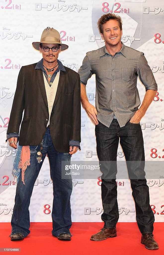 Johnny Depp and Armie Hammer attend 'The Lone Ranger' photo call at the Park Hyatt Hotel on July 17, 2013 in Tokyo, Japan.
