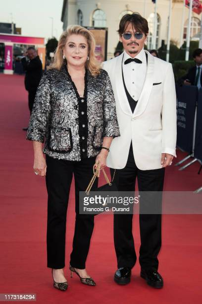 Johnny Depp and Catherine Deneuve attend the Tribute To Johnny Depp during the 45th Deauville American Film Festival on September 08, 2019 in...