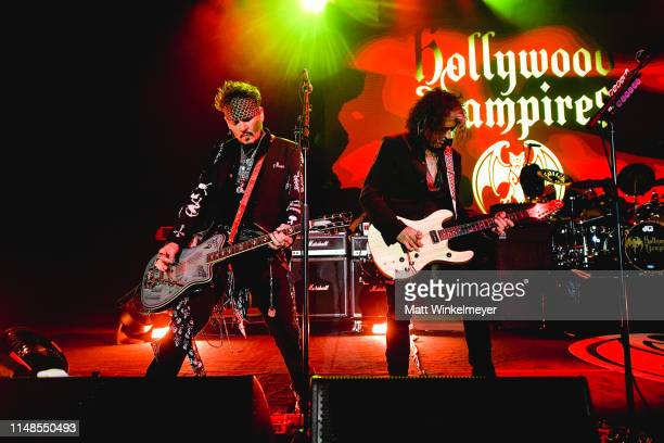 Johnny Depp and Joe Perry of The Hollywood Vampires perform at The Greek Theatre on May 11 2019 in Los Angeles California