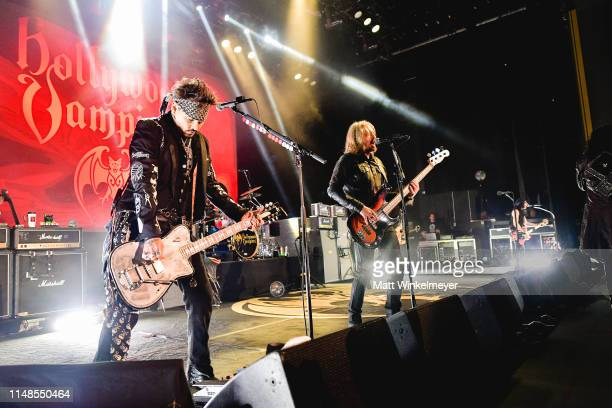 Johnny Depp and Joe Perry of The Hollywood Vampires performs at The Greek Theatre on May 11 2019 in Los Angeles California