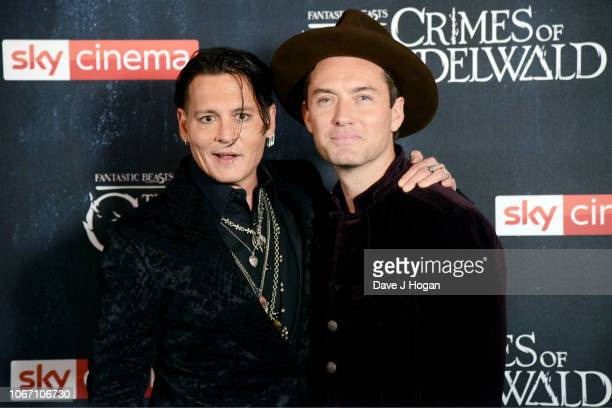 Johnny Depp and Jude Law attend 'Fantastic Beasts The Crimes Of Grindelwald' UK Premiere at Cineworld Leicester Square on November 13 2018 in London...