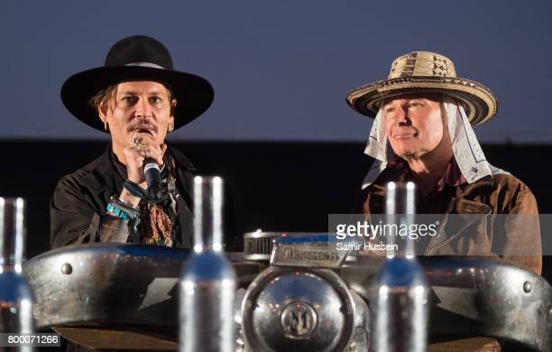 Johnny Depp and Julien Temple arrive for a showing of his film The Libertine as he attends on day 1 of the Glastonbury Festival 2017 at Worthy Farm...