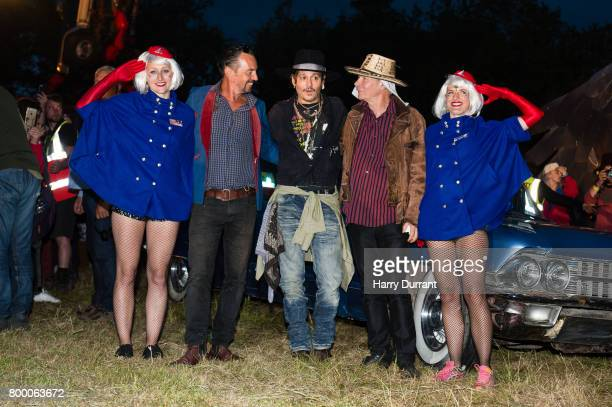 Johnny Depp and Julien Temple indruduce a screening of 'The Libertine' film at the Cineramageddon cinema on day 1 of the Glastonbury Festival 2017 at...