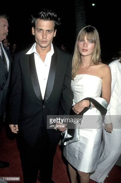 Johnny Depp and Kate Moss during 'Don Juan De Marco' Beverly Hills Premiere at The Academy in Beverly Hills California United States
