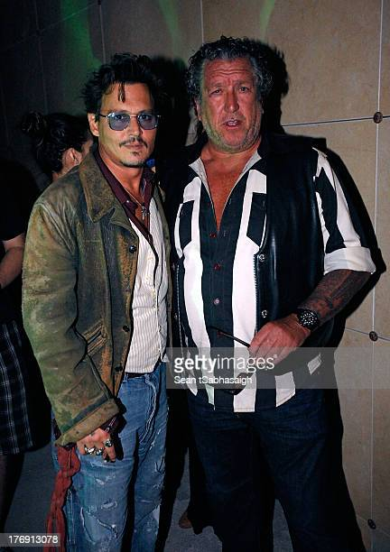 Johnny Depp and musician Steve Jones of the Sex Pistols attend the 9th Annual Johnny Ramone Tribute at Hollywood Forever on August 18 2013 in...