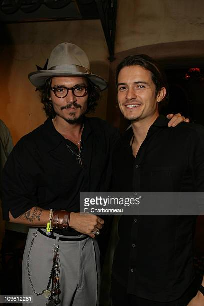 Johnny Depp and Orlando Bloom during World Premiere of Walt Disney Pictures' 'Pirates of the Caribbean Dead Man's Chest' at Disneyland in Anaheim CA...