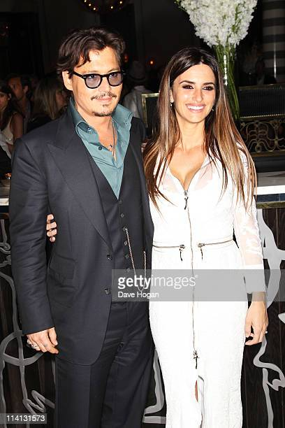 Johnny Depp and Penelope Cruz attend the UK premiere afterparty of 'Pirates Of The Caribbean On Stranger Tides' at Massimo Restaurant and Oyster Bar...