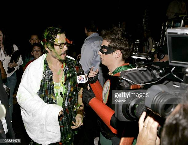 Johnny Depp and Pick Boy during Nickelodeon's 18th Annual Kids Choice Awards Backstage and Audience at Pauley Pavilion in Los Angeles California...