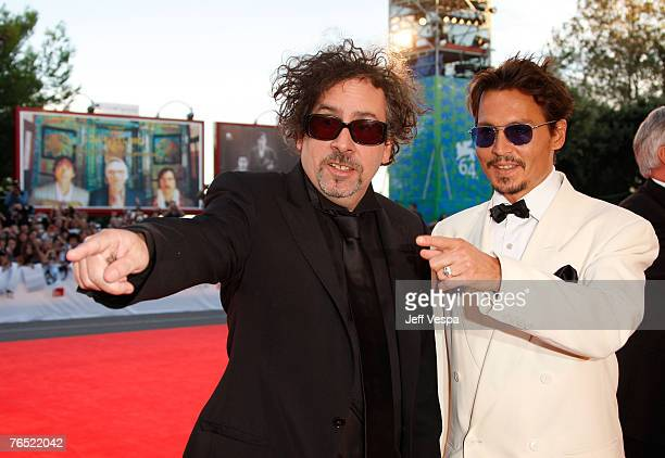 Johnny Depp and Tim Burton attend the Tim Burton Golden Lion For Lifetime Achievement Award in Venice during Day 8 of the 64th Venice Film Festival...