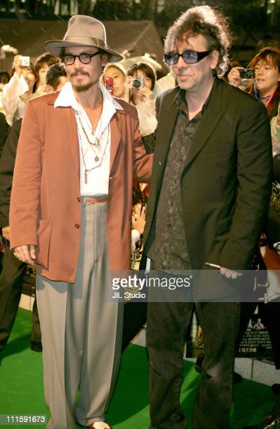 Johnny Depp and Tim Burton director during 'Charlie and the Chocolate Factory' Tokyo Premiere Green Carpet at Roppongi Hills Arena in Tokyo Japan