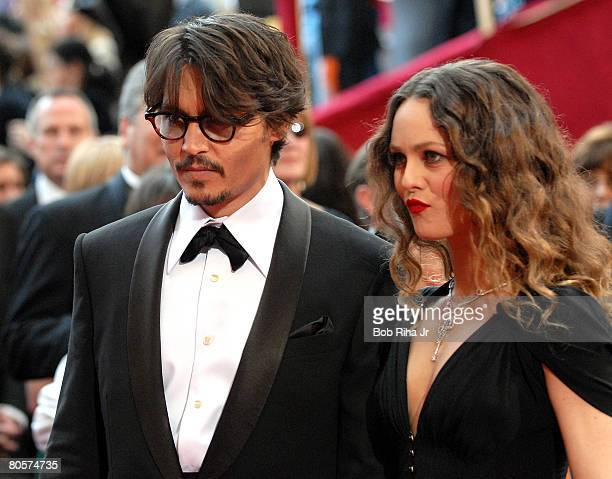 Johnny Depp and Vanessa Paradis arrive at the 80th annual Academy Awards at the Kodak Theatre on February 24 2008 in Los Angeles California