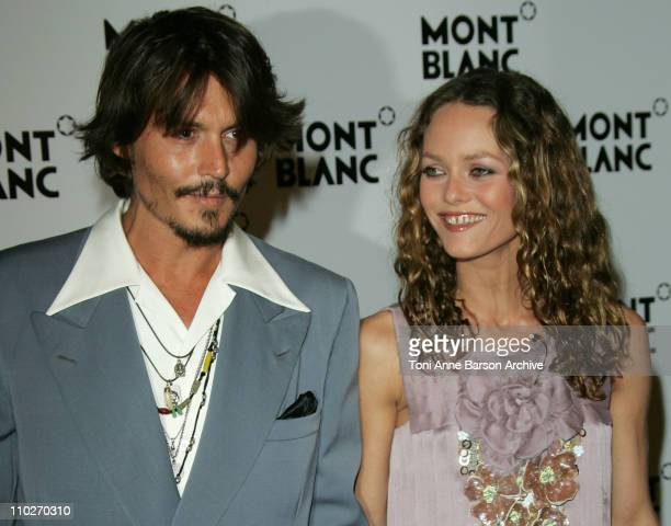 Johnny Depp and Vanessa Paradis during 'Mont Blanc' 100th Anniversary Party Arrivals at Palexpo in Geneva Switzerland