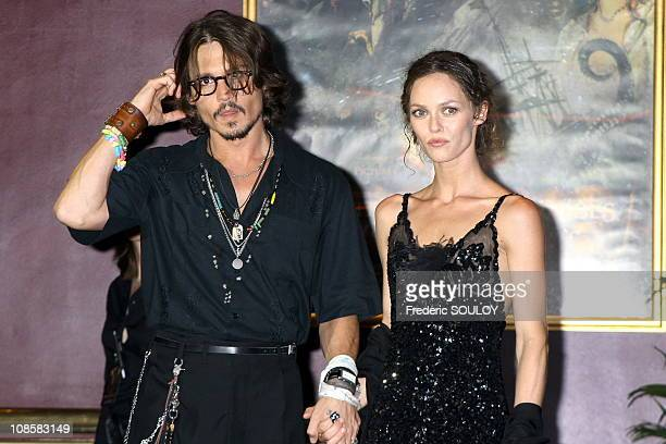 Johnny Depp and Vanessa Paradis in Paris, France on July 06, 2006.