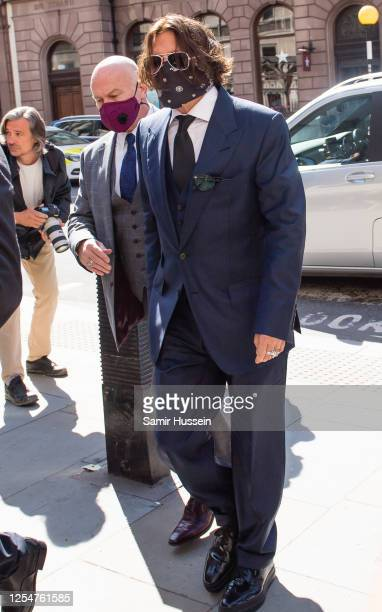 Johnny Depp arrives at Royal Courts of Justice Strand on July 07 2020 in London England The American actor is taking News Group Newspapers publishers...