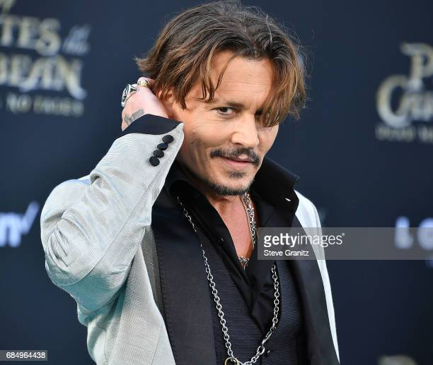 Johnny Depp arrives at the Premiere Of Disney's 'Pirates Of The Caribbean Dead Men Tell No Tales' at Dolby Theatre on May 18 2017 in Hollywood...
