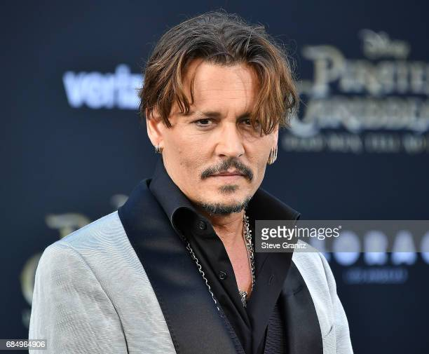 Johnny Depp arrives at the Premiere Of Disney's Pirates Of The Caribbean Dead Men Tell No Tales at Dolby Theatre on May 18 2017 in Hollywood...
