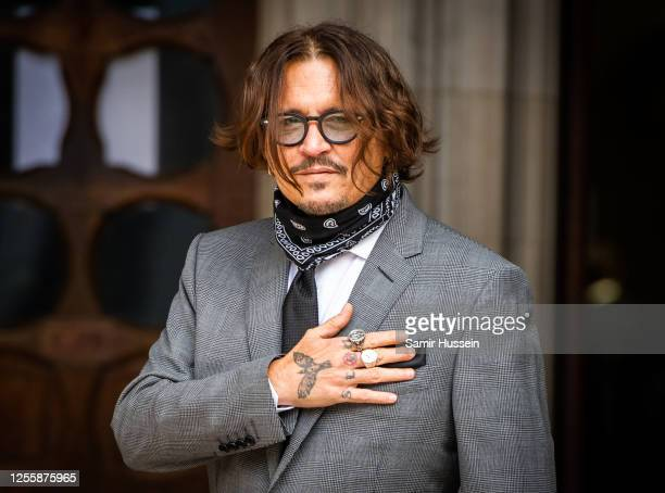 Johnny Depp arrives at the Royal Courts of Justice, Strand on July 13, 2020 in London, England.Hollywood actor is taking News Group Newspapers,...
