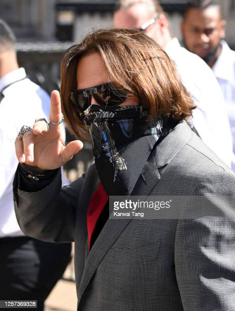 Johnny Depp arrives at the Royal Courts of Justice, Strand on July 21, 2020 in London, England. The Hollywood Actor is suing News Group Newspapers...