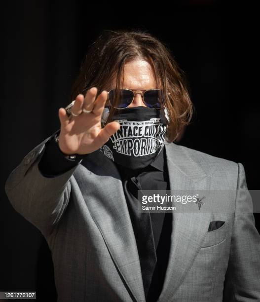 Johnny Depp arrives at the Royal Courts of Justice, Strand on July 28, 2020 in London, England. The Hollywood Actor is suing News Group Newspapers...