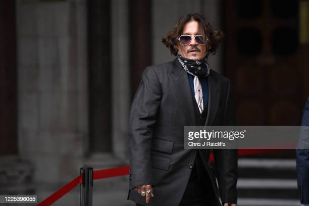 Johnny Depp arrives at The Royal Courts of Justice Strand on July 8 2020 in London England The Hollywood actor is taking News Group Newspapers...
