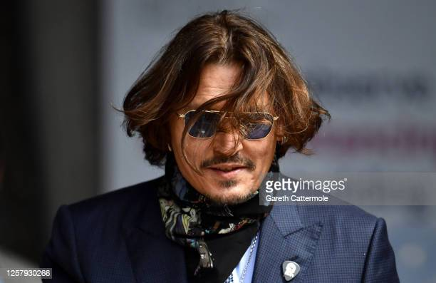 Johnny Depp arrives at the Royal Courts of Justice, the Strand on July 24, 2020 in London, England. The Hollywood actor is suing News Group...