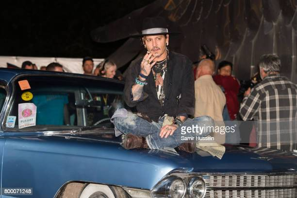 Johnny Depp arrives for a showing of his film The Libertine as he attends on day 1 of the Glastonbury Festival 2017 at Worthy Farm Pilton on June 22...