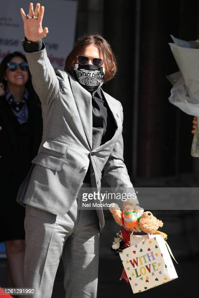 Johnny Depp arrives for the last day at Royal Courts of Justice Strand on July 28 2020 in London England American actor Johnny Depp is taking News...