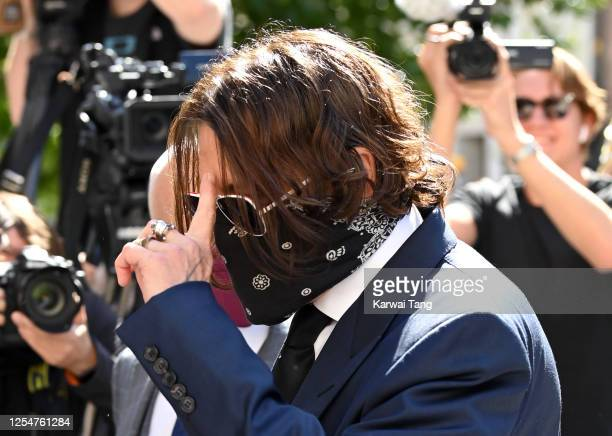 Johnny Depp arrives for the libel case against the Sun Newspaper at the Royal Courts of Justice, Strand on July 07, 2020 in London, England. The...
