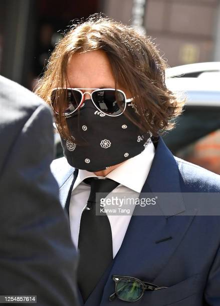 Johnny Depp arrives for the libel case against the Sun Newspaper at the Royal Courts of Justice Strand on July 07 2020 in London England The American...