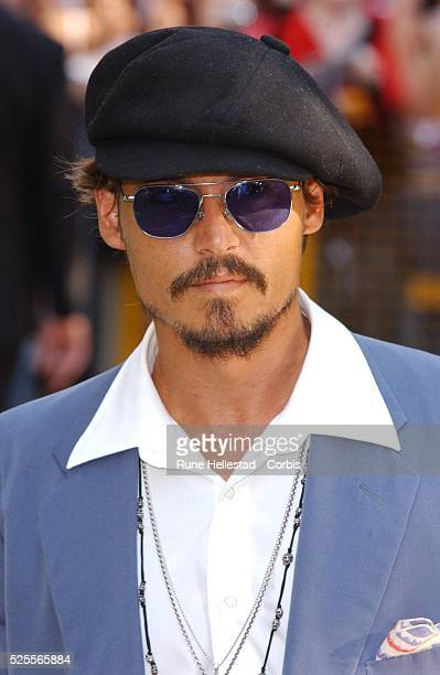 Johnny Depp arrives for the premiere of Charlie and the Chocolate Factory in Leicester Square